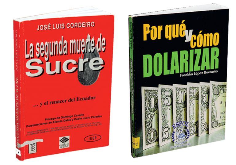 Obras clave. Los dos libros que circularon en 1999 y proponían al dólar como solución para la crisis.