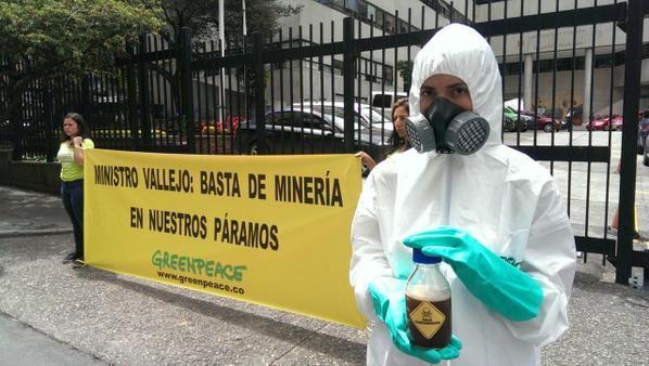 Los voluntarios de la ONG protestaron en las afueras de la sede del Ministerio de Ambiente, en Bogotá. Foto: Twitter / Greenpeace Colombia