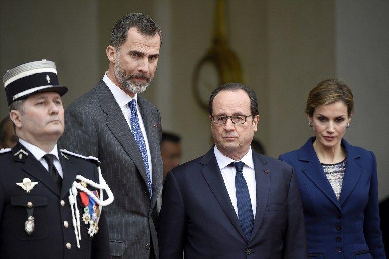 Presidente de Francia con los reyes de España. Foto: AFP