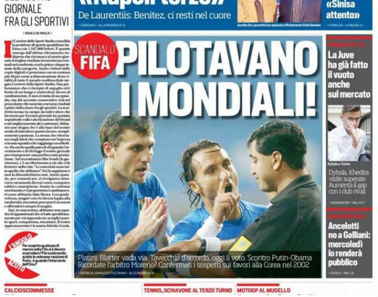 """Portada del diario """"Corriere dello Sport""""."""