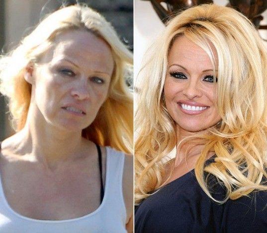 Pamela Anderson sin y con maquillaje.