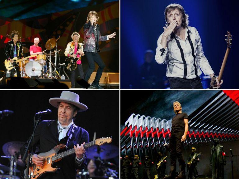 The Rolling Stones, Paul McCartney, Bob Dylan y Roger Waters.
