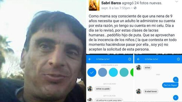 Una audaz mujer logró atrapar a un inescrupuloso sujeto que intentaba captar a su hija de nueve años por Facebook.