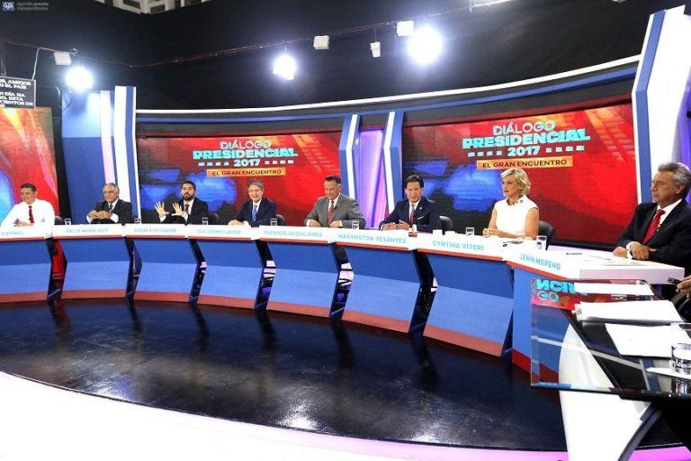 El debate del domingo contó con la participación de los 8 candidatos presidenciales, incluyendo el oficialista Lenin Moreno. Foto: API
