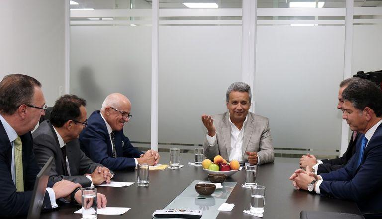 Moreno se reunió con directivos de 4 de los 5 bancos más grandes de Ecuador. Foto: Cortesía