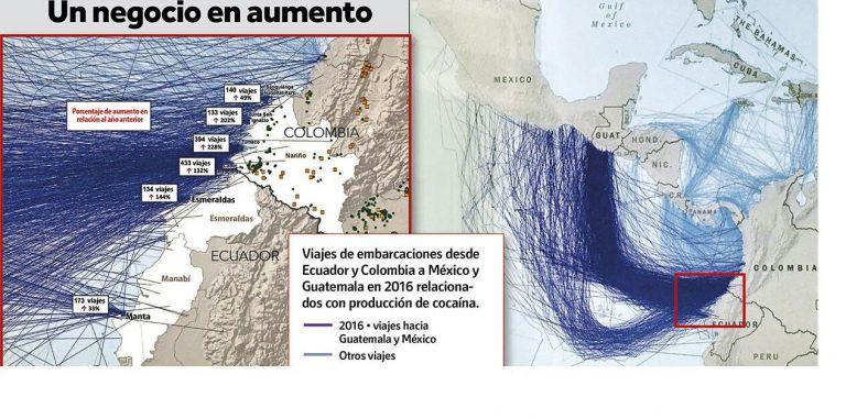 ElComando Sur de las Fuerzas Armadas de Estados Unidos presentó estos mapas de la ruta marina del narcotráfico.