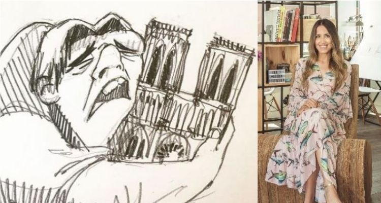 Cristina Correa Freile fue quien realizó el dibujo en el que se aprecia al jorobado de Notre Dame abrazando la catedral.