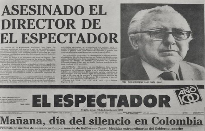 Guillermo Cano Isaza fue director del diario El Espectador, uno de los de mayor circulación de Colombia.