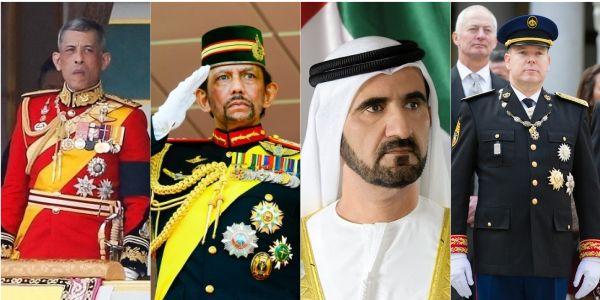 De izquierda a derecha: el rey Rama X de Tailandia, el sultán Hassanal Bolkiah de Brunéi, el Emir de Abu Dabi y el príncipe Alberto de Mónaco.