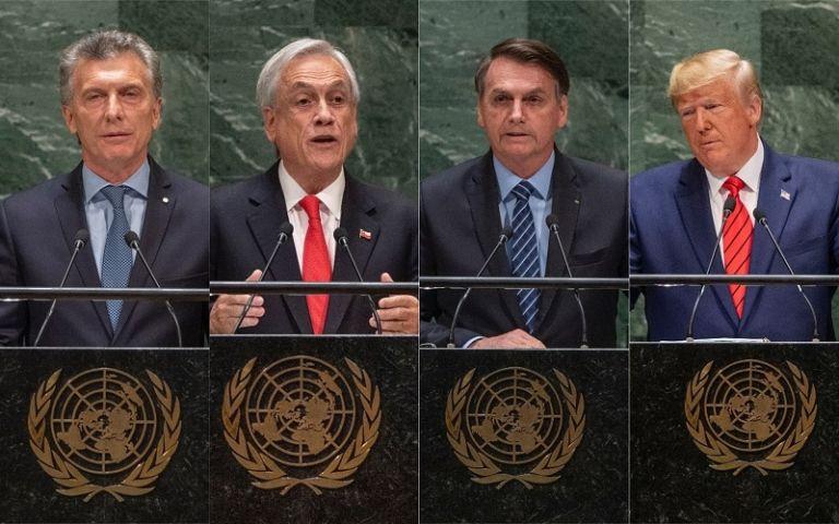 En la foto: los presidentes de Argentina, Mauricio Macri; Chile, Sebastián Piñera; Brasil, Jair Bolsonaro; y Estados Unidos, Donald Trump.