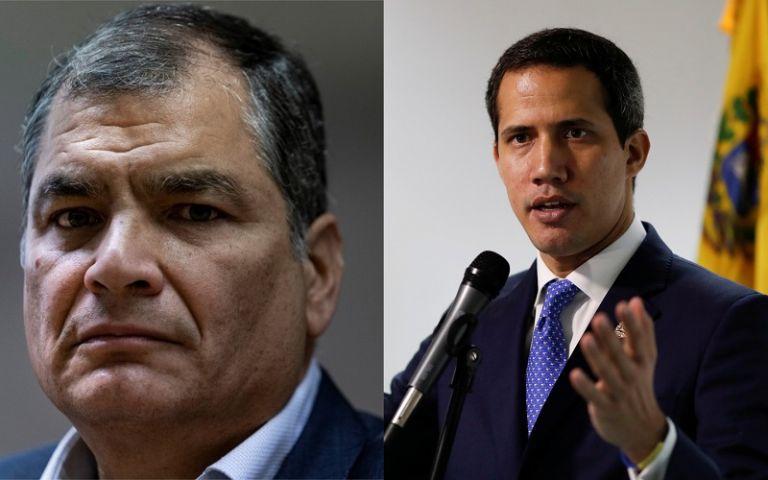 """""""Estamos tratando de activar mecanismos de información"""", dijo Guaidó sobre la búsqueda de Correa. Fotos: AFP / Reuters"""