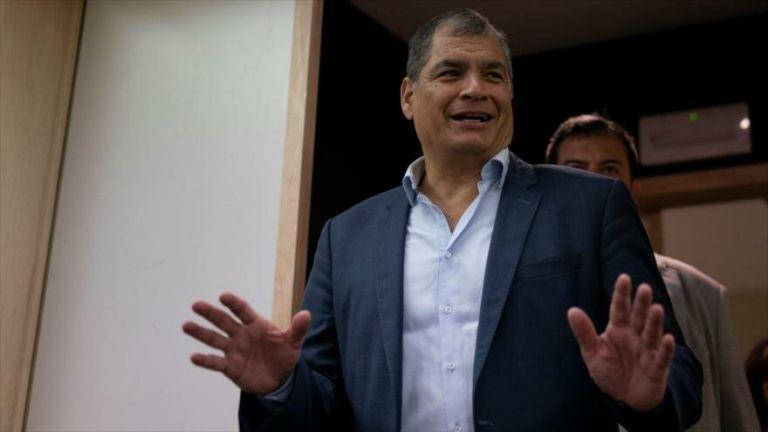 El expresidente Correa (2007-2017) reside en Bélgica desde que dejó la Presidencia. Foto: AFP