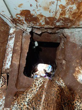 Los presos hicieron un túnel para escapar de la prisión de Pedro Juan Caballero. Foto: @ivanciclon