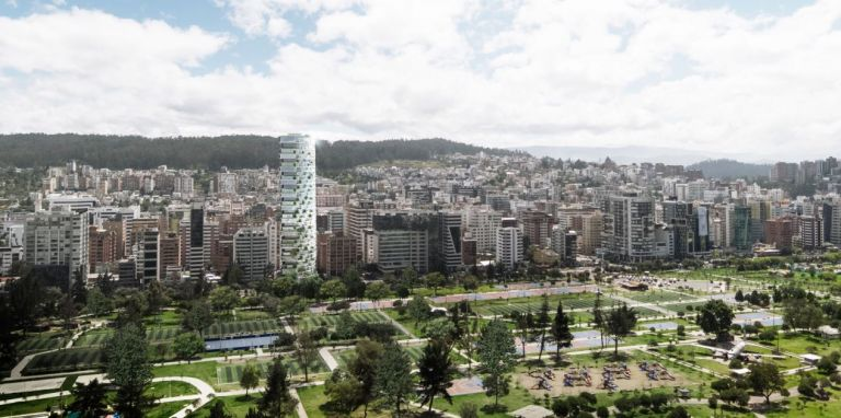 Esta imagen muestra el edificio Iqon, que con 32 pisos se convertirá en el más alto de Quito.
