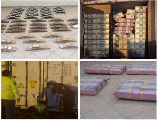 La Policía incautó 348.942 gramos de cocaína ocultos en un contenedor que transportaba banano en la Terminal Portuaria de Guayaquil, cuyo destino era Holanda. Foto: Policía Nacional.