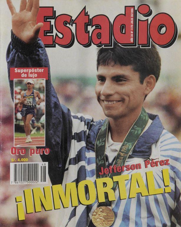 Portada de la revista Estadio de 1996, Jefferson Pérez obtuvo la primera y única medalla de oro olímpica del Ecuador. Su logro fue en  atletismo, la modalidad los 20 km marcha.