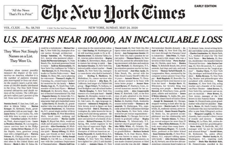 """""""Son una pérdida incalculable"""", se puede leer en el título de su edición del 24 de mayo."""