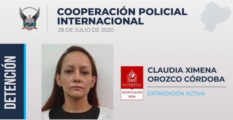 Orozco fue capturada con fines de extradición el 31 de agosto de 2018.