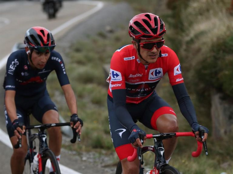 Richard Carapaz (Ineos) durante la séptima etapa de La Vuelta ciclista a España. Foto: EFE.