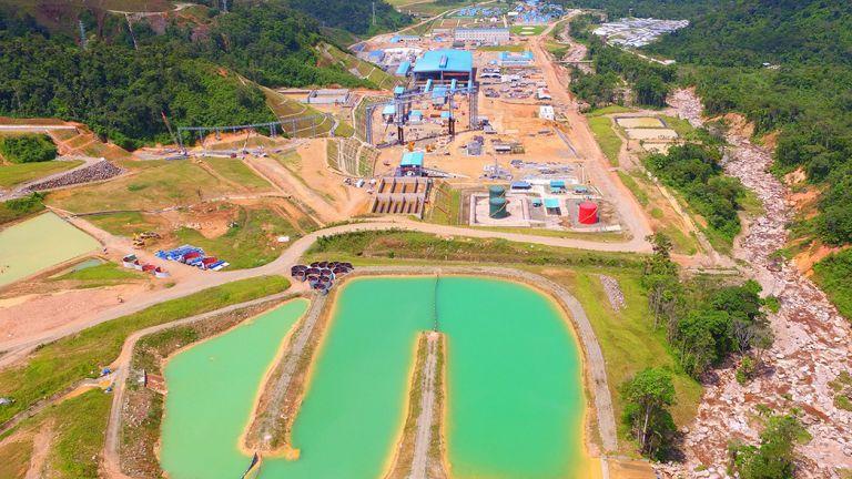 Vista aéra del proyecto minero Mirador en Ecuador.