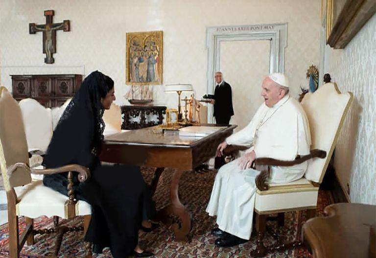 La vicepresidenta María Alejandra Muñoz se reunió con el papa Francisco en el Vaticano. Foto: Vicepresidencia.