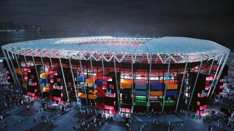 Imagen del estadio Ras Abu Aboud en Catar, para el Mundial de 2022. - Foto: @qatar2022es