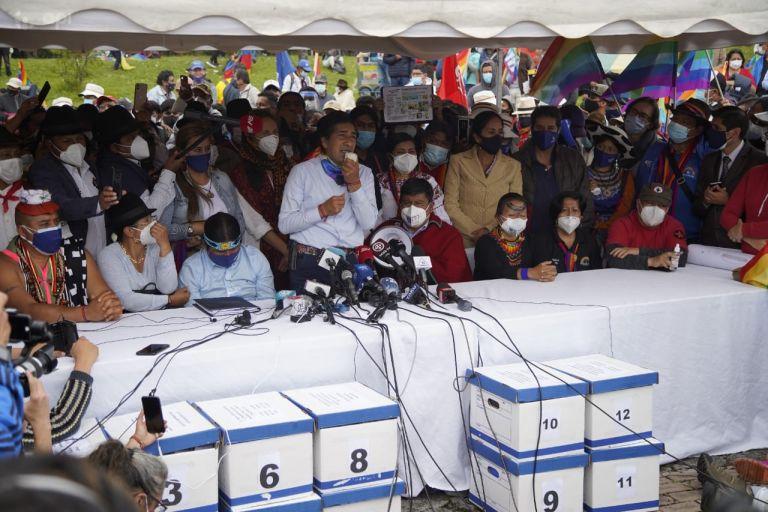 """Yaku Pérez ha reclamado el recuento de votos y ha denunciado ser víctima de un presunto """"fraude"""". Foto: API"""