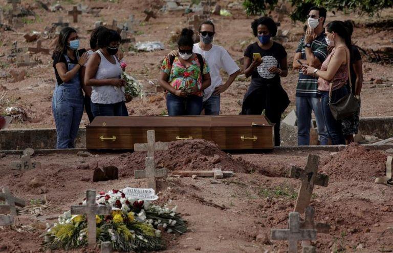Una mujer víctima de la COVID-19 es sepultada hoy en un cementerio de Río de Janeiro. EFE