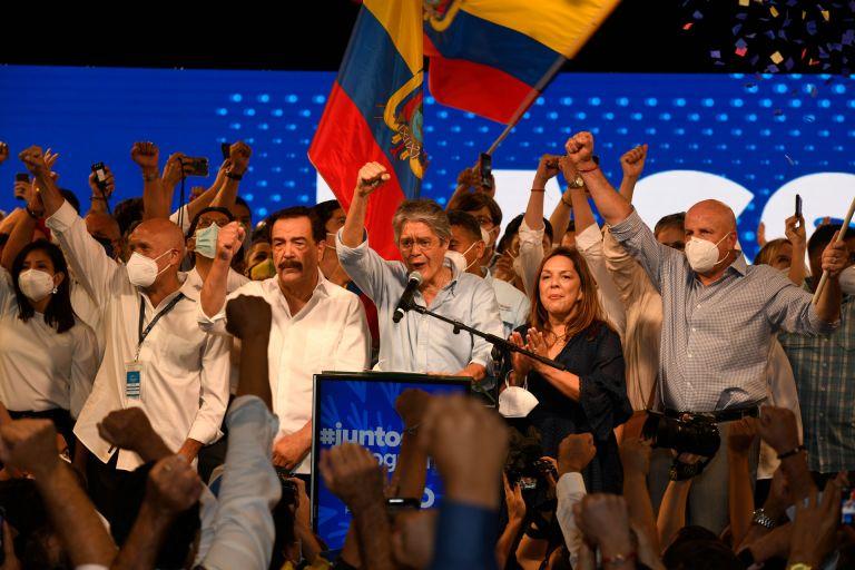 Lasso celebra triunfo el domingo de elecciones, 11 de abril de 2021. Foto: Vistazo