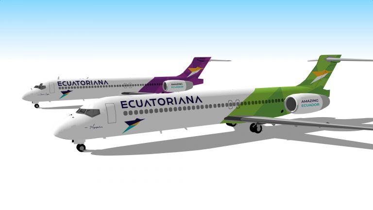 El Dash 8-Q400 y el avión Boeing 717-200 serán parte de las rutas de Ecuatoriana Airlines. Foto cortesía.