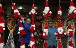 Decoración navideña en Palestina. Foto: AFP