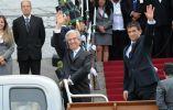 Presidente Tabaré Vásquez y el vicepresidente Raúl Sendic. Foto: AFP