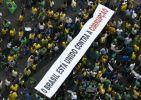 """""""Un Brasil unido contra la corrupción"""", se leía en una pancarta durante la manifestación en Sao Paulo. Foto: AFP"""