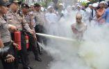 Policías de indonesia extinguen una efigie de la quema de un monje budista durante una protesta en apoyo de los musulmanes Rohingya de Myanmar por grupos musulmanes de línea dura frente Pembela Islam (FPI ) 2015 ADEK BERRY / AFP