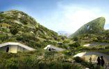 """Galije Resort: Montenegro. Este centro turístico de lujo diseñado por la firma holandesa MVRDV funciona como una residencia exclusiva para el manto de la naturaleza. El plan maestro fue diseñado para compensar un terreno irregular en la costa, cubierto por una """"capa"""" gruesa de verde que imita el paisaje natural."""