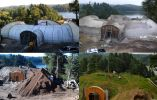 En la actualidad, el material más utilizado es el hormigón reforzado, al que se da forma con estructuras en forma de cúpulas o directamente en muros rectos sobre los que se echa tierra hasta formar un talud.