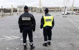 Resguardo policial y cierre de caminos durante el evento. AFP