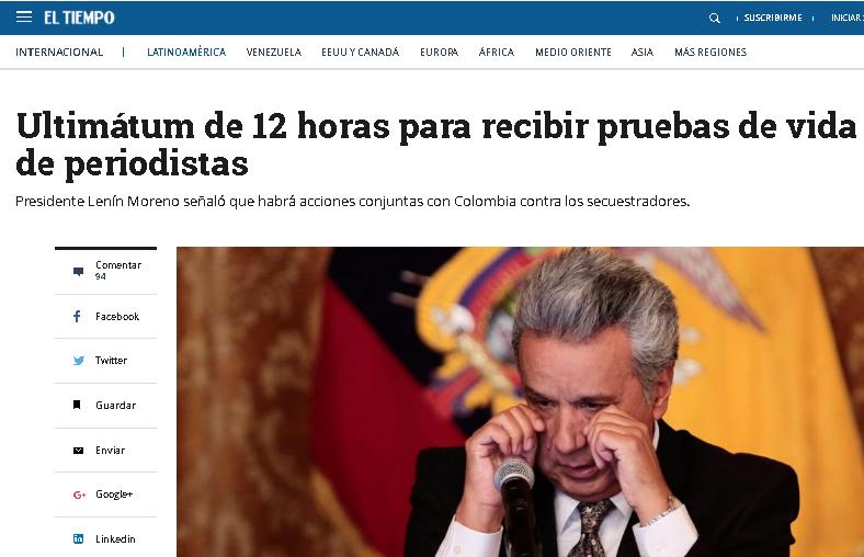 Ecuador, de luto, busca los cadáveres de los periodistas